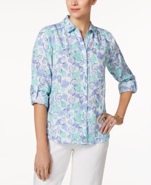 Charter Club Linen Printed Blouse, Created for Macy's 4856436