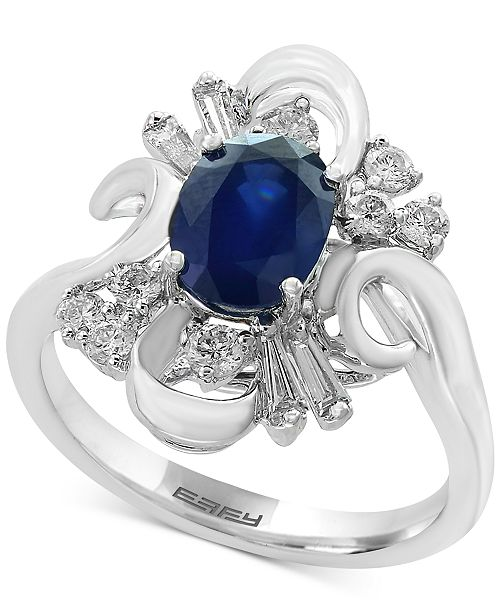 EFFY Collection Royale Bleu by EFFY® Sapphire (1-3/8 ct. t.w.) and Diamond (3/8 ct. t.w.) Ring in 14k White Gold
