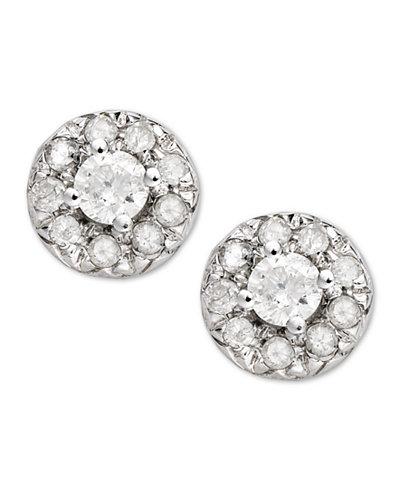 Diamond Round Stud Earrings in 14k White Gold (1/4 ct. t.w)