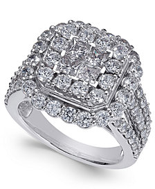 Diamond Cluster Ring (3 ct. t.w.) in 14k White Gold