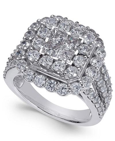 Diamond Cluster Ring (3 ct. t.w.) in 14k White Gold