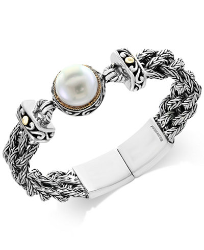 Pearl Lace by EFFY® Cultured Freshwater Pearl (14mm) Braided Chain Bracelet in Sterling Silver and 18k Gold