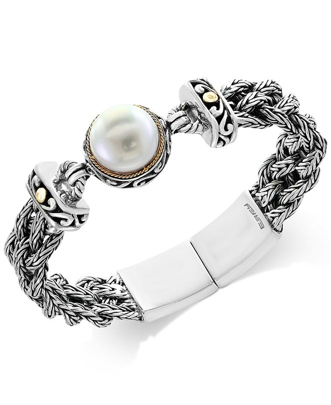 EFFY Collection Pearl Lace by EFFY® Cultured Freshwater Pearl (14mm) Braided Chain Bracelet in Sterling Silver and 18k Gold