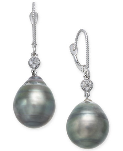 Cultured Black Tahitian Pearl (12mm) and Diamond Accent Drop Earrings in 14k White Gold