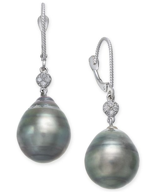 Macy's Cultured Black Tahitian Pearl (12mm) and Diamond Accent Drop Earrings in 14k White Gold
