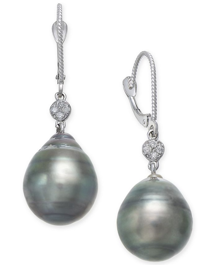 Macy's - Cultured Black Tahitian Pearl (12mm) and Diamond Accent Drop Earrings in 14k White Gold