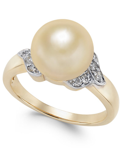 Cultured Golden South Sea Pearl (9mm) and Diamond (1/6 ct. t.w.) Ring in 14k Gold