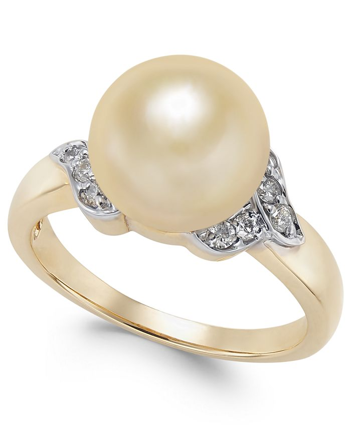 Macy's - Cultured Golden South Sea Pearl (9mm) and Diamond (1/6 ct. t.w.) Ring in 14k Gold
