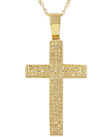Men's Diamond Geometric Cross Pendant Necklace (1/2 ct. t.w.) in 10k Gold