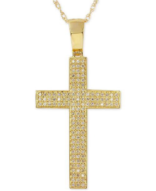 dedabf8b0310 Macy s Men s Diamond Geometric Cross Pendant Necklace (1 2 ct. t.w. ...