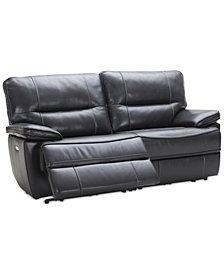 "Garraway 80"" 2-Pc. Leather Sectional Sofa with 2 Power Recliners with Power Headrests and USB Power Outlet, Created for Macy's"