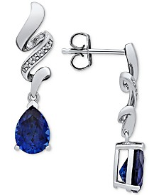 Lab Created Sapphire (2-5/8 ct. t.w.) & Diamond Accent Drop Earrings in Sterling Silver