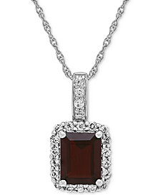 Blue Topaz(2-3/4 ct.t.w.) & White Topaz (5/8 ct. t.w.) Pendant Necklace in Sterling Silver(Also Available in Citrine, Garnet, and Amethyst)