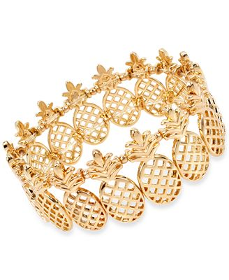 M. Haskell for INC International Concepts Gold-Tone Pineapple Stretch Bracelet, Created for Macy's