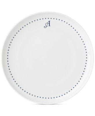 Navy Dots Monogram Dinner Plate