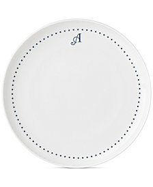 Lenox Navy Dots Monogram Dinner Plate