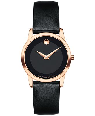movado womens swiss museum classic black leather strap