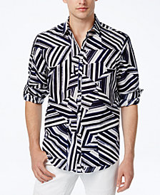 I.N.C. Men's Shattered Abstract-Print Shirt, Created for Macy's