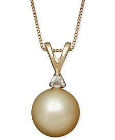 Golden South Sea Pearl (8mm) and Diamond Accent Pendant Necklace in 14k Gold