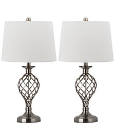Safavieh Set of 2 Lattice Urn Platinum-Tone Table Lamps