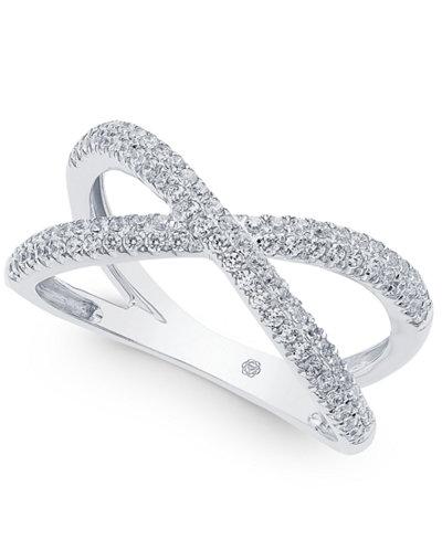 Diamond Crisscross Ring (1/2 ct. t.w.) in 14k White Gold