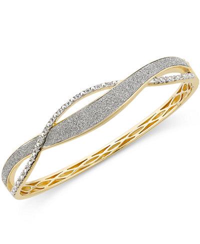 Diamond Glitter Twist Bracelet (1/4 ct. t.w.) in 18k Gold-Plated Sterling Silver