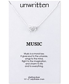 Mini Music Notes Pendant Necklace in Sterling Silver