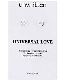 Unwritten Open Heart Stud Earrings in Sterling Silver