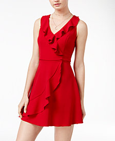 Teeze Me Juniors' Ruffled Wrap Dress