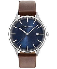 Kenneth Cole New York Men's Brown Leather Strap Watch 42mm KC15112001