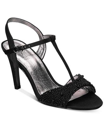 Adrianna Papell Alia T-Strap Beaded Evening Sandals