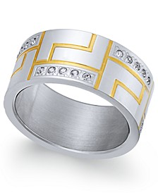 Men's Two-Tone Modern Cubic Zirconia Ring