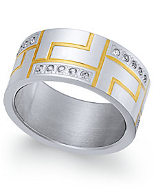 Sutton by Rhona Sutton Men's Two-Tone Modern Cubic Zirconia Ring