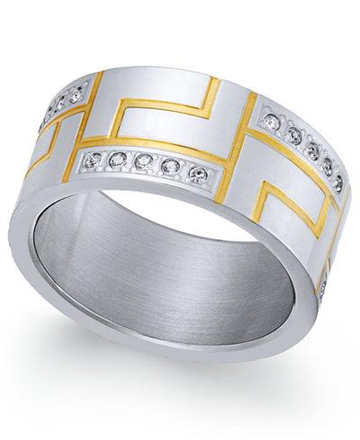 Sutton by Rhona Sutton Men's Two-Tone Modern Cubic Zirconia Ring