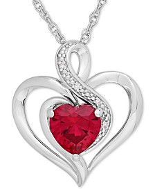 Lab-Created Ruby (1-1/6 ct. t.w.) & Diamond Accent Heart Pendant Necklace in Sterling Silver