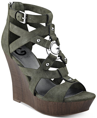 Dodge Platform Wedge Sandals by G By Guess