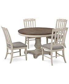 Barclay Expandable Round Pedestal Dining, 5-Pc. Set (Round Dining Pedestal Table & 4 Upholstered Side Chairs)