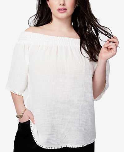RACHEL Rachel Roy Trendy Plus Size Off-The-Shoulder Fringe Top