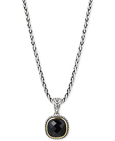 Eclipse by EFFY® Onyx Pendant Necklace in Sterling Silver & 18k Gold