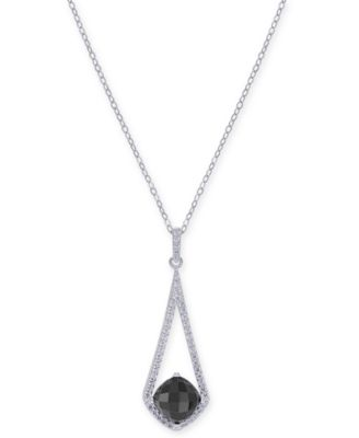 Onyx & Swarovski Zirconia Pendant Necklace in Sterling Silver