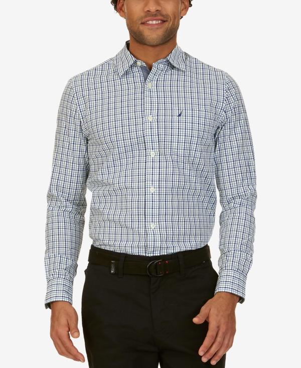 Nautica Men's Slim-Fit Colbalt Plaid Cotton Long-Sleeve Shirt