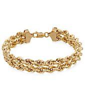 Chain Double Rope Bracelet in 14k Gold