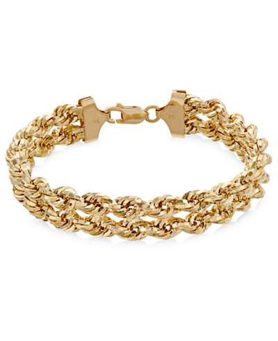 Chain Double Rope Bracelet in 14k Gold