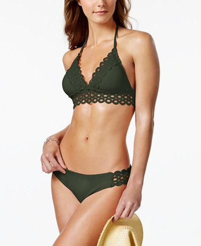 Becca Siren Eyelet-Trim Halter Bikini Top & Bottoms