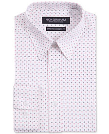 Nick Graham Men's Modern Fitted Stretch Performance Floral Print Dress Shirt