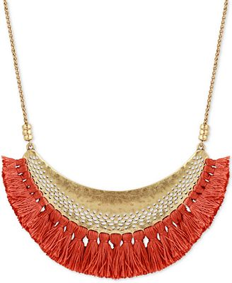 Lucky Brand Gold-Tone Tassel Openwork Statement Necklace