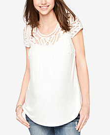 Daniel Rainn Maternity Lace-Trim Top