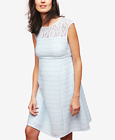 Taylor Maternity Lace-Trim A-Line Dress