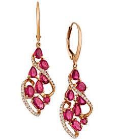 Le Vian® Certified Passion™ Ruby (3-1/3 ct. t.w.) & Diamond (1/3 ct. t.w.) Drop Earrings in 14k Rose Gold
