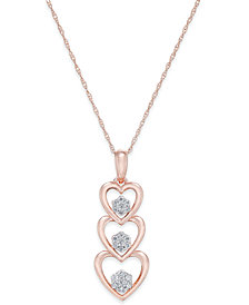 Diamond Triple Heart Pendant Necklace (1/7 ct. t.w.) in 14k Rose Gold